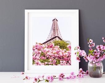 Photographie Fine Art de Fleurs de Cerisier sous la Tour Eiffel - Toile Photo de Paris