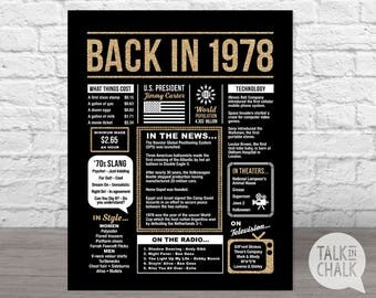 Back In 1978 Black and Gold Glitter PRINTABLE Poster - 40th Birthday Digital Sign - 40th Birthday Poster, 40th Birthday Gift - 1978 Poster