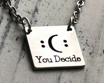 Happy or Sad You Decide Square Bar Custom Personalized Engraved Bar Necklace