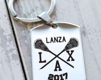 Lacrosse Team Player Personalized Key Chain - Engraved