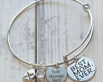 Best Mom Ever Personalized Adjustable Wire Bangle Bracelet
