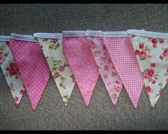 Beautiful Cotton Double Sided Bunting - Pinks Floral - Nursery, Baby Girl, Shabby Chic