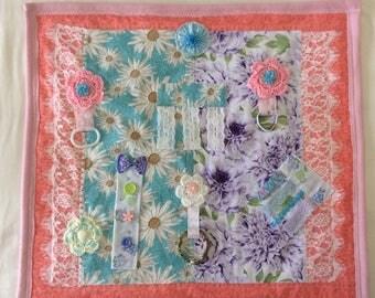 Handmade Aqua Mauve Tactile Lap Blanket Alzheimers Fidget Quilt Sensory Dementia