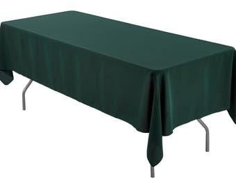 60 x 102 inch Rectangular Hunter Green Tablecloth Polyester | Wedding Tablecloth