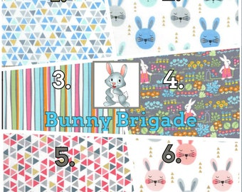 Ergo360 or Lillebaby 3-PC sets. Headrest Bib/Straight Pads. Curved Pads upgrade and personalize available. BUNNY BRIGADE.