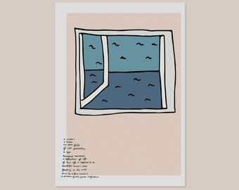 A Window | Wall Art Print | Poster | Line Drawing | Design | Sea | Minimal | Window | View | Poem | Bedroom | Living Room