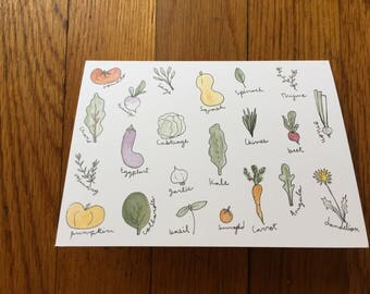 vegetable print greeting card