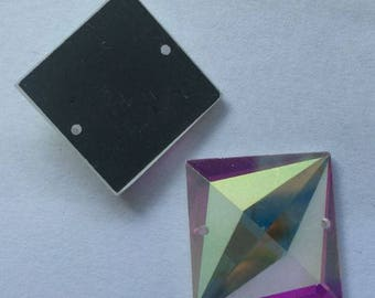 20mm Square Sew On Glass Crystals - Sold by the Pair