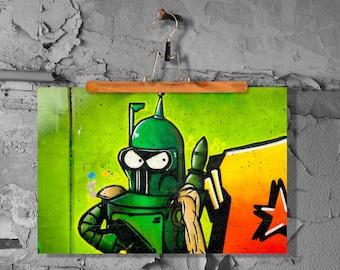 Graffiti robot soldier fine art print poster matt 60 x 90