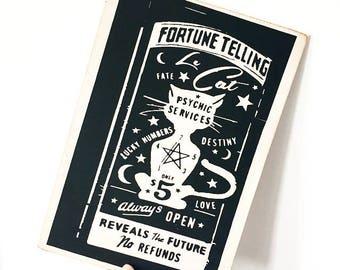 Le Cat Fortune Wooden Plaque