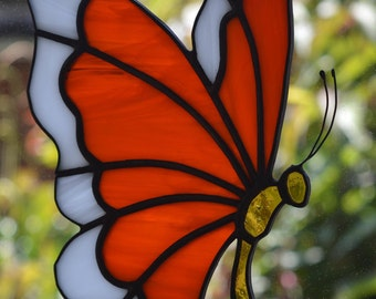 Red & White Butterfly Stained Glass Suncatcher