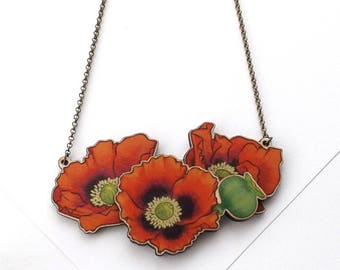 Laser Cut Opium Poppy Floral Statement Necklace, an illustrated layered wood necklace - Garden Plant Flower Botanical Jewellery