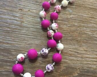 Tea Garden - Magenta & Porcelain Handmade Statement Necklace