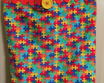 Puzzle Piece/Autism Eco Friendly Shopping Tote