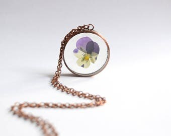 Viola pendant - botanical flower necklace/pendant/keyring - handmade copper jewellery