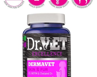 Dermavet-vitamin and mineral supplement in dogs and  cats nutrition which affects the health of the skin and hair