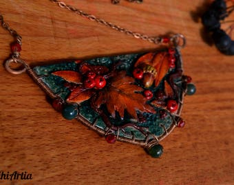 Fall necklace leaf Fall jewelry Fall pendant Autumn necklace Autumn jewelry Autumn leaf jewelry Polymer clay necklace Copper wire necklace