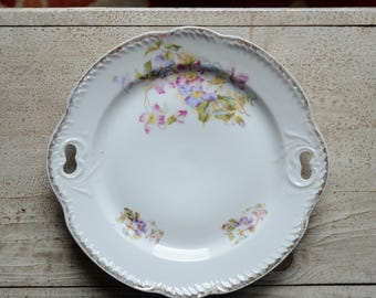 Multi Floral Scalloped Edge Gold Rimmed Serving Plate