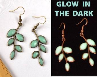 green leaves earrings glow jewelry mint leaves Jewelry glow in the dark Glowing jewelry glowing in the dark jewelry gift for her earrings