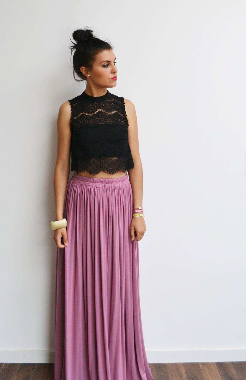 maxi jupe longue rose vintage jupe longue taille haute jupe. Black Bedroom Furniture Sets. Home Design Ideas