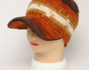 Mens Gift for Husband Baseball cap Winter Hat Visor Cap Wool cap Crochet Visor Hat Mens Hats Wool Trucker Cap Orange Winter Cap Crochet Hat