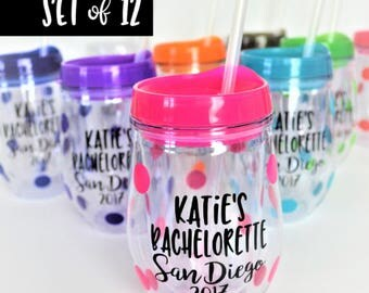 SET of 12 Bachelorette Party Tumblers // Bachelorette Party Cups // Bachelorette Gift for Bride // Bachelorette Favors