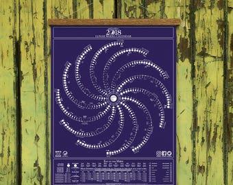 Moon Calendar Print 2018 / Bird&Bee's Original Lunar Wheel Calendar / Moon Phases, Pagan Full Moons, Solstice, Sunrise, Equinox Almanac