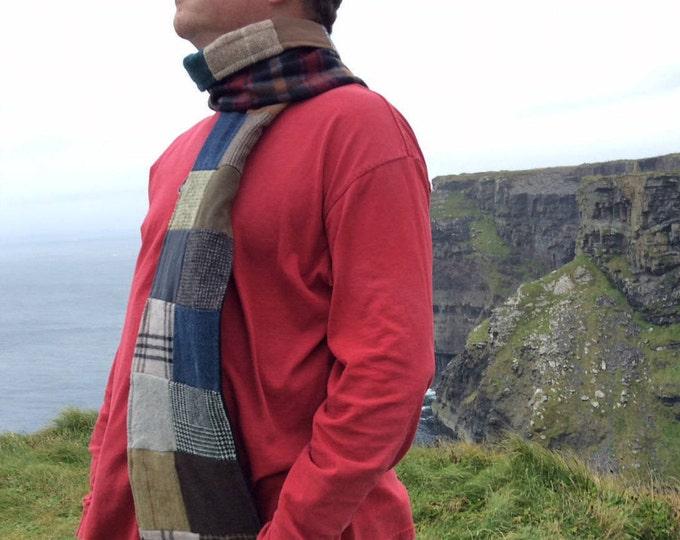 "Patchwork Scarf- ""Irish Donegal""-Mens Scarves, Ireland, Tweeds, Denim, Herringbone, Corduroy, Fleece, Upcycle, Warm, Cosy,The Swedish Flicka"