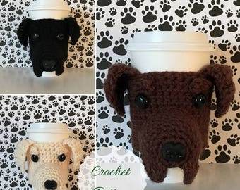 Crochet Labrador Pattern, Black Lab Pattern, Cup Cozy Pattern, Dog Crochet Pattern, Crochet Dog Pattern, Amigurumi Dog, Mug Cozy Pattern