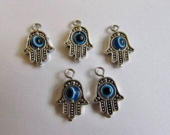 Hamsa Hand Charms Spacer Beads Jewellery Making Protection Charm Hand Charm Silver Tone Evil Eye 1 5 10 50 100 Charm options CH1
