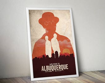 Albuquerque Breaking Bad poster alternative tv show poster Crime poster ABQ Walter White Jesse Pinkman Bryan Cranston Aaron Paul