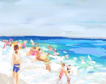 Abstract Beach Print, figurative, pastels, coastal, modern art print