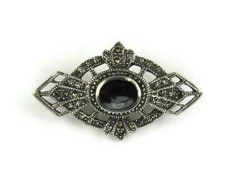 Art Deco Style Sterling Silver Onyx Marcasite Brooch