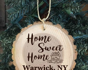 Personalized Wood Ornament Home Sweet Home with the address of new home with town, state and year