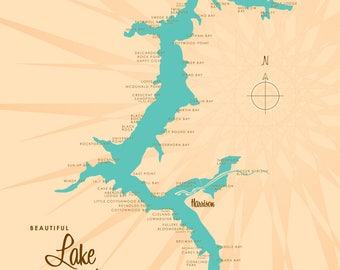 Lake Coeur d'Alene, ID Map - Canvas Print