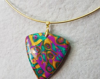 Carnaval colors polymer clay necklace