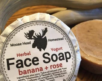 Banana & Rose Face Soap with greek yogurt-infused with rose, chamomile, and lavender, handmade, natural, face, silk, unscented