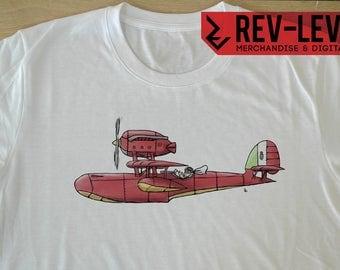 Porco Rosso Tee - Kurenai no Buta  紅の豚 Studio Ghibli T-Shirt by Rev-Level