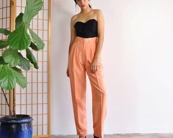 Minimal Silk Trousers, Vintage Silk Pants, High Waist Trousers, Peach Summer Pants, Pleated Tapered Pants, 90s Minimal Pants, Womens Size 6