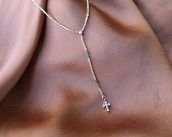 Little Prayer Lariat 24K Necklace - Gold Necklace - Gold Chain Necklace - Cross Necklace - Lariat Necklace - Gold Cross Necklace - Religious