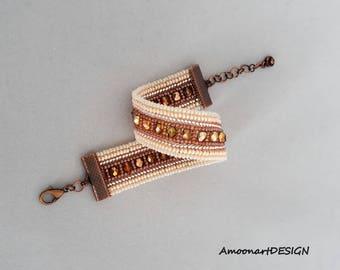 Sparkly Cuff Bracelet, Handcrafted Beaded Bracelet, Bridesmaids Gift Bracelet, Beige Crystal Cuff, Handmade Beadwork Jewelry,  B-17