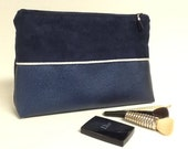 Great for women/gift for her makeup pouch / case beauty Navy Blue Suede and leatherette iridescent with silver edging