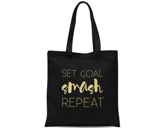 Set Goal Smash Repeat   Inspirational Tote Bag   Motivational Bag   Black Tote Bag   Screen Print Tote   Graduation Gift for Her
