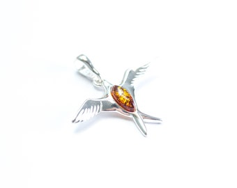Sparrow Pendant, Baltic Amber & Sterling Silver Sparrow Brooch, Sparrow Pendant, Amber sparrow necklace, amber necklace, amber pendant, gift