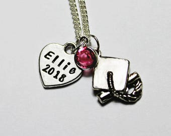 GRADUATION NECKLACE. Personalized. Heart Necklace. Birthstone. 2018 Graduate. 2018 necklace. Graduation Gift. Graduate Necklace. 2018.