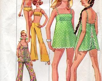 60s Simplicity Sewing Pattern 8199 Misses Bathing Suit Hip Hugger Pants Size 10 Bust 32 1/2