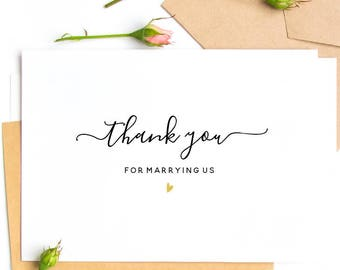Thank You For Marrying Us Wedding Day Card - White Card Blank Inside for Your Personal Message