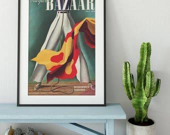 Harper's Bazaar Poster| Vintage Magazine| Vintage Poster| Harpers Bazaar Print| Art Deco| 1930s| Harpers Bazaar Cover| Fashion Print| VMA015