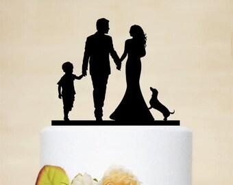 Family Cake Topper,Custom Wedding Cake Topper,Bride and Groom with little boy,Dog Cake Topper,Custom Child Cake Topper, P187