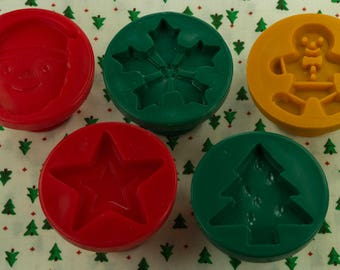 Collectable 5 Pc. Plastic Christmas Cookie Stamp Set